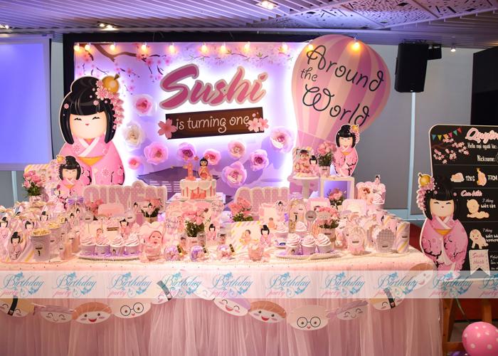 Bàn trang trí tiệc thôi nôi- Chủ đề Sushi